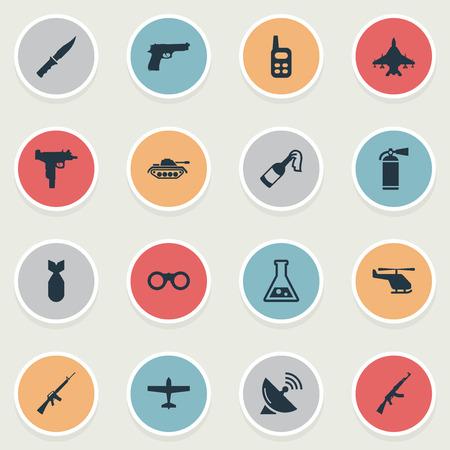 Set van 16 eenvoudige leger iconen. Elementen zoals Kalashnikov, Nuke, Pistol And Other kunnen worden gevonden. Stock Illustratie