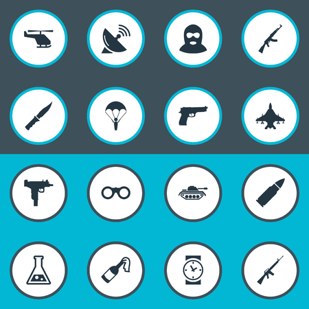 parachuter: Set Of 16 Simple War Icons. Can Be Found Such Elements As Rifle Gun, Kalashnikov, Firearm And Other.