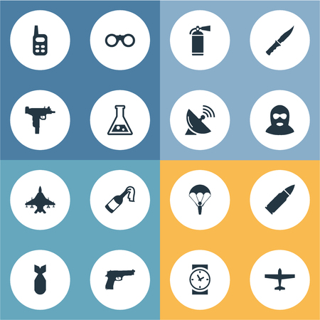 parachuter: Set Of 16 Simple War Icons. Can Be Found Such Elements As Terrorist, Pistol, Cold Weapon And Other.