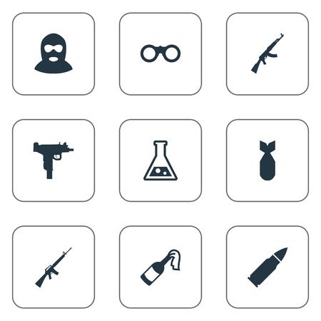 colt: Set Of 9 Simple Terror Icons. Can Be Found Such Elements As Kalashnikov, Chemistry, Terrorist And Other.