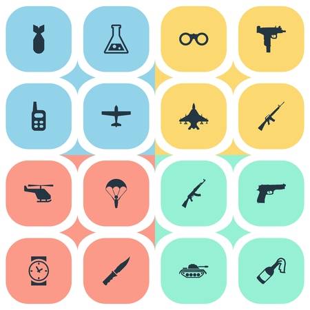 Set Of 16 Simple Terror Icons. Can Be Found Such Elements As Watch, Pistol, Air Bomber And Other.
