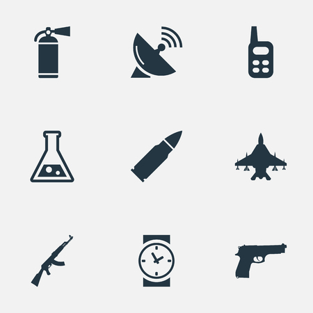 Set Of 9 Simple Army Icons. Can Be Found Such Elements As Kalashnikov, Extinguisher, Chemistry And Other.