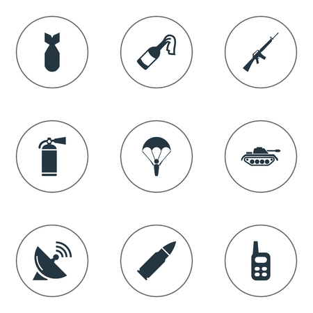 colt: Set Of 9 Simple War Icons. Can Be Found Such Elements As Extinguisher, Ammunition, Molotov And Other. Illustration