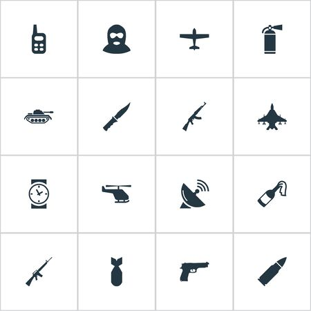Set Of 16 Simple War Icons. Can Be Found Such Elements As Rifle Gun, Signal Receiver, Air Bomber And Other.