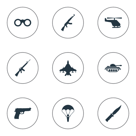 Set Of 9 Simple Military Icons. Can Be Found Such Elements As Cold Weapon, Heavy Weapon, Paratrooper And Other.