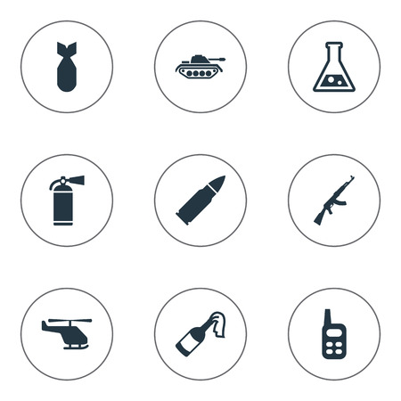 lanzamiento de bala: Set Of 9 Simple Battle Icons. Can Be Found Such Elements As Molotov, Walkies, Ammunition And Other.