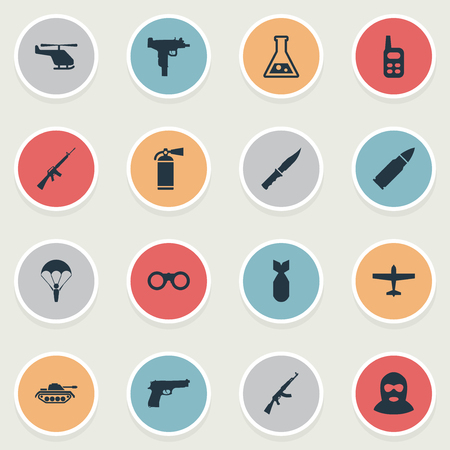 nuke: Set Of 16 Simple Battle Icons. Can Be Found Such Elements As Nuke, Paratrooper, Helicopter And Other. Illustration