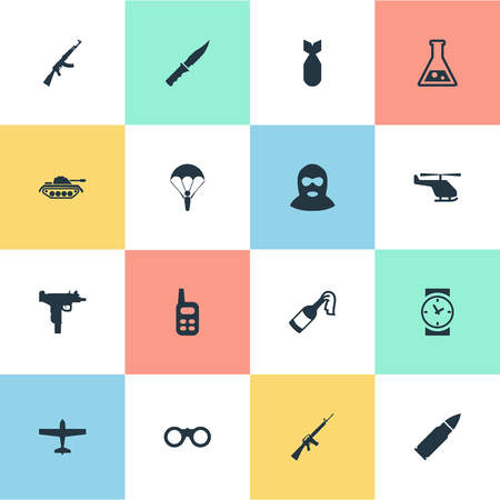 nuke: Set Of 16 Simple Military Icons. Can Be Found Such Elements As Walkies, Nuke, Terrorist And Other. Illustration