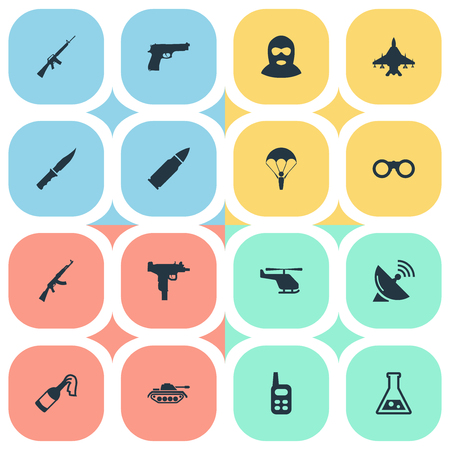 Set Of 16 Simple War Icons. Can Be Found Such Elements As Heavy Weapon, Walkies, Rifle Gun And Other.