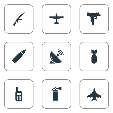 nuke: Set Of 9 Simple Terror Icons. Can Be Found Such Elements As Nuke, Sky Force, Air Bomber And Other. Illustration