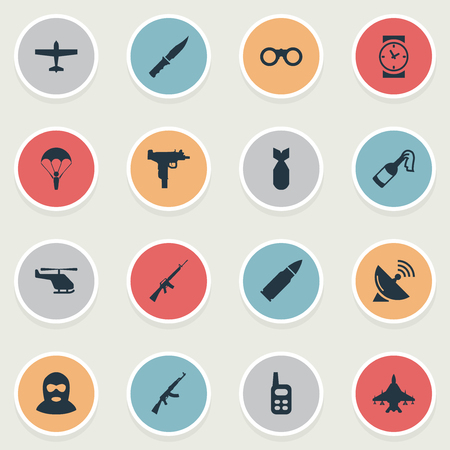 Set Of 16 Simple War Icons. Can Be Found Such Elements As Field Glasses, Molotov, Air Bomber And Other. Illustration