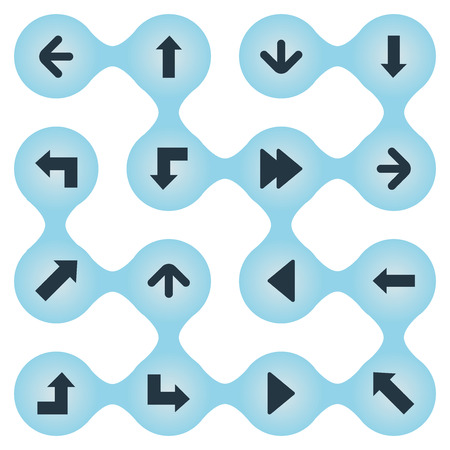 Set Of 16 Simple Arrows Icons. Can Be Found Such Elements As Indicator, Right Direction, Left Direction And Other. Иллюстрация