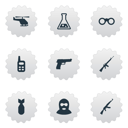 Set Of 9 Simple Terror Icons. Can Be Found Such Elements As Terrorist, Kalashnikov, Rifle Gun And Other.