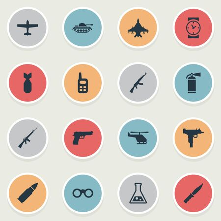 nuke: Set Of 16 Simple Battle Icons. Can Be Found Such Elements As Walkies, Nuke, Sky Force And Other. Illustration