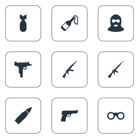 nuke: Set Of 9 Simple Army Icons. Can Be Found Such Elements As Firearm, Field Glasses, Nuke And Other. Illustration