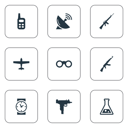 Set Of 9 Simple Battle Icons. Can Be Found Such Elements As Walkies, Rifle Gun, Kalashnikov And Other.