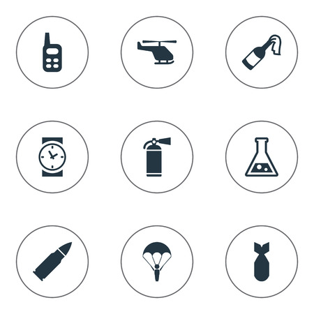 nuke: Set Of 9 Simple Terror Icons. Can Be Found Such Elements As Nuke, Molotov, Walkies And Other. Illustration
