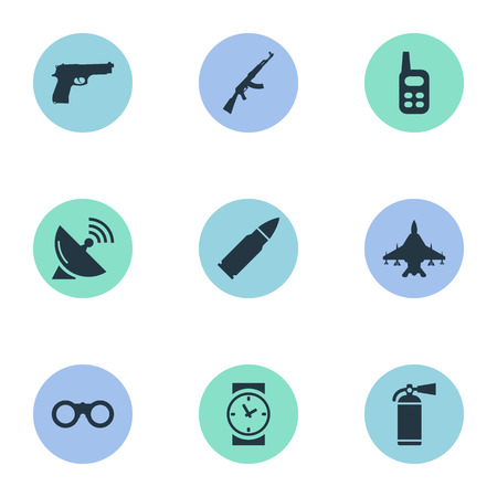 Set Of 9 Simple Army Icons. Can Be Found Such Elements As Ammunition, Sky Force, Field Glasses And Other. Illustration