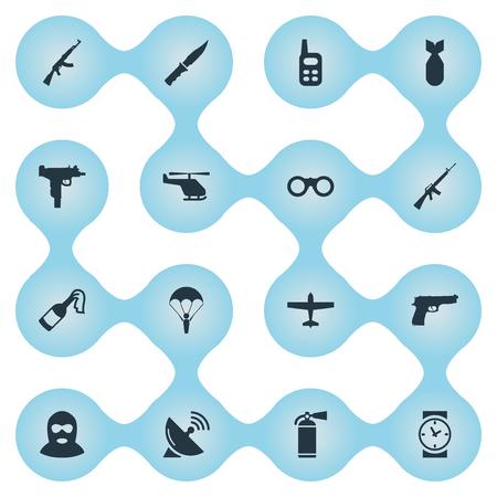 Set van 16 eenvoudige militaire pictogrammen. Elementen zoals geweer, horloge, signaalontvanger en andere kunnen worden gevonden. Stock Illustratie