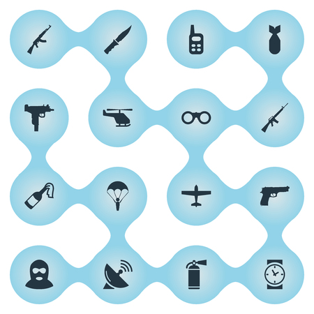 Set Of 16 Simple Military Icons. Can Be Found Such Elements As Rifle Gun, Watch, Signal Receiver And Other.