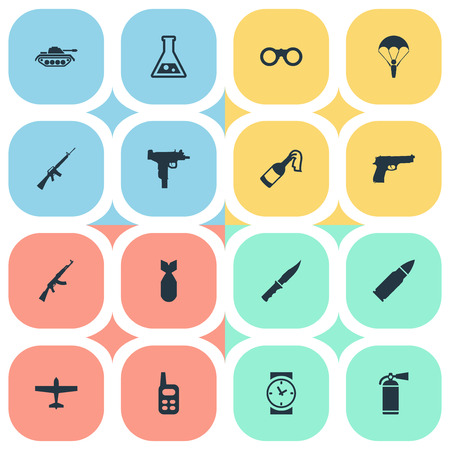 Set Of 16 Simple Battle Icons. Can Be Found Such Elements As Watch, Chemistry, Paratrooper And Other.