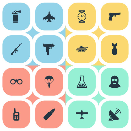 Set Of 16 Simple Battle Icons. Can Be Found Such Elements As Walkies, Watch, Rifle Gun And Other. Illustration