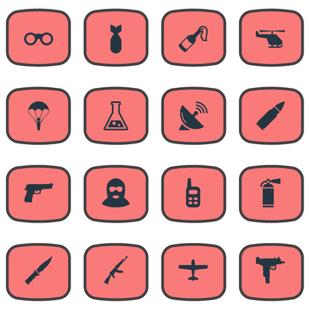 Set Of 16 Simple Army Icons. Can Be Found Such Elements As Chemistry, Extinguisher, Terrorist And Other.