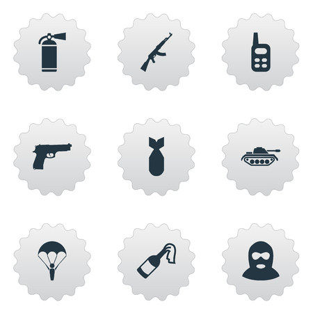 nuke: Set Of 9 Simple Army Icons. Can Be Found Such Elements As Heavy Weapon, Nuke And Other.