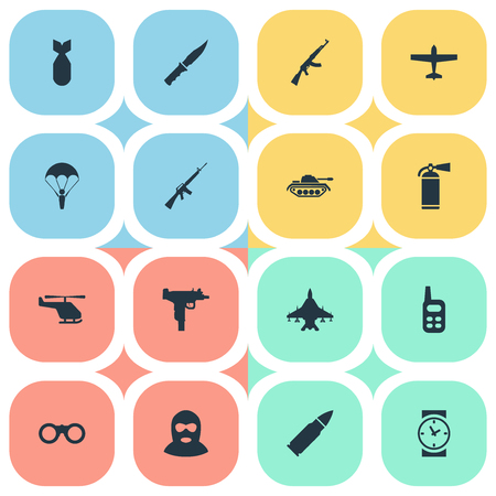 Set Of 16 Simple Terror Icons. Can Be Found Such Elements As Field Glasses, Helicopter And Other.