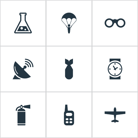 Set Of 9 Simple Military Icons. Can Be Found Such Elements As Watch, Nuke, Chemistry And Other. Illustration