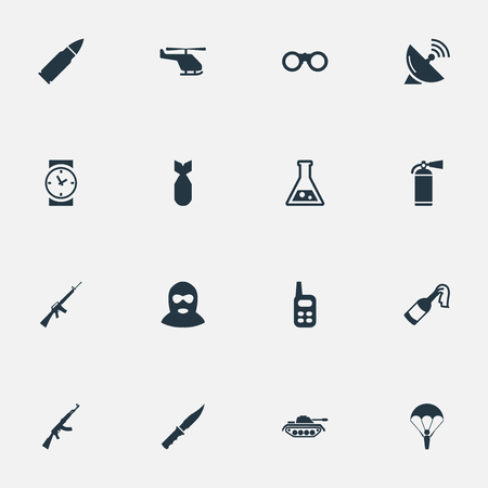 lanzamiento de bala: Set Of 16 Simple Army Icons. Can Be Found Such Elements As Cold Weapon, Nuke, Molotov And Other.