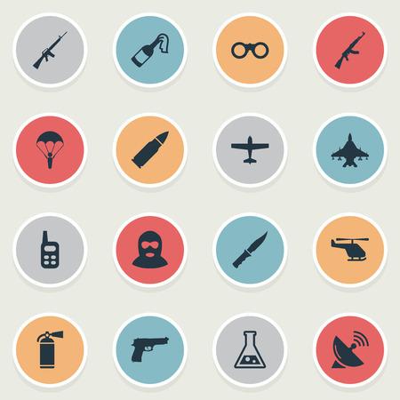 Set van 16 eenvoudige oorlogspictogrammen. Elementen zoals Sky Force, Chemistry, Cold Weapon And Other kunnen worden gevonden.