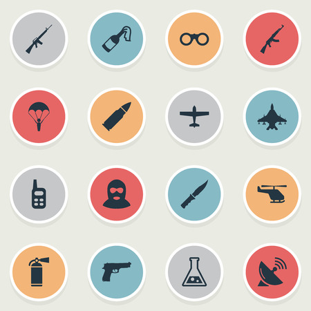 Set Of 16 Simple War Icons. Can Be Found Such Elements As Sky Force, Chemistry, Cold Weapon And Other.