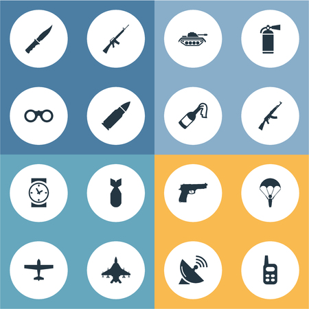 Set Of 16 Simple Army Icons. Can Be Found Such Elements As Pistol, Ammunition, Paratrooper And Other. Illustration