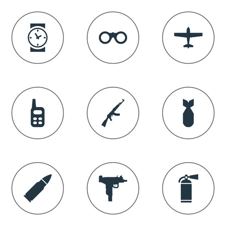 nuke: Set Of 9 Simple Military Icons. Can Be Found Such Elements As Extinguisher, Nuke, Air Bomber And Other.