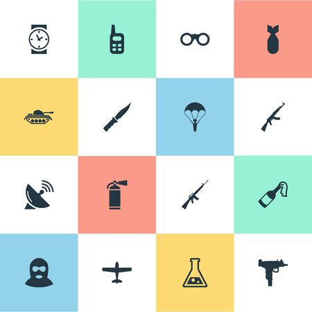Set Of 16 Simple War Icons. Can Be Found Such Elements As Paratrooper, Terrorist, Molotov And Other.
