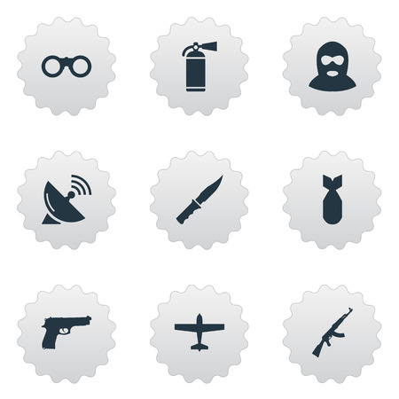 nuke: Set Of 9 Simple Military Icons. Can Be Found Such Elements As Nuke, Air Bomber And Other.