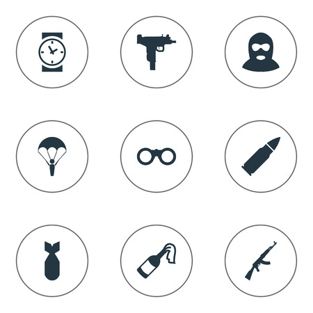 nuke: Set Of 9 Simple Military Icons. Can Be Found Such Elements As Field Glasses, Nuke, Firearm And Other.