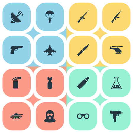 Set Of 16 Simple Battle Icons. Can Be Found Such Elements As Field Glasses, Helicopter, Ammunition And Other. Illustration