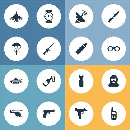 nuke: Set Of 16 Simple Army Icons. Can Be Found Such Elements As Nuke, Signal Receiver, Paratrooper And Other.