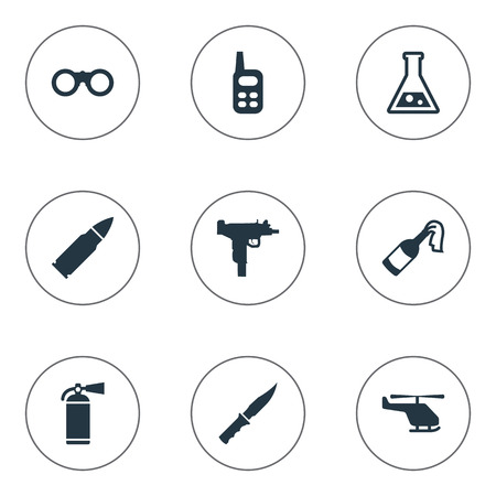 Set Of 9 Simple Army Icons. Can Be Found Such Elements As Field Glasses, Helicopter, Molotov And Other. Illustration