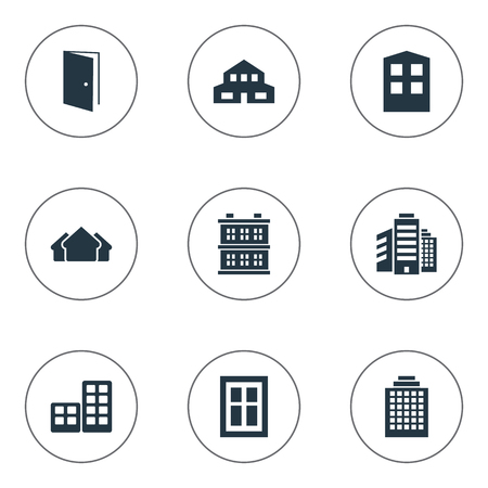 Set Of 9 Simple Architecture Icons. Can Be Found Such Elements As Glazing, Shelter, Superstructure And Other.