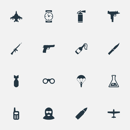 Set Of 16 Simple Battle Icons. Can Be Found Such Elements As Air Bomber, Extinguisher, Nuke And Other.