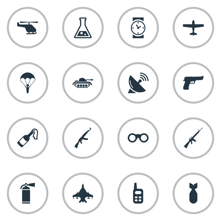 Set Of 16 Simple War Icons. Can Be Found Such Elements As Helicopter, Extinguisher, Walkies And Other. Illustration