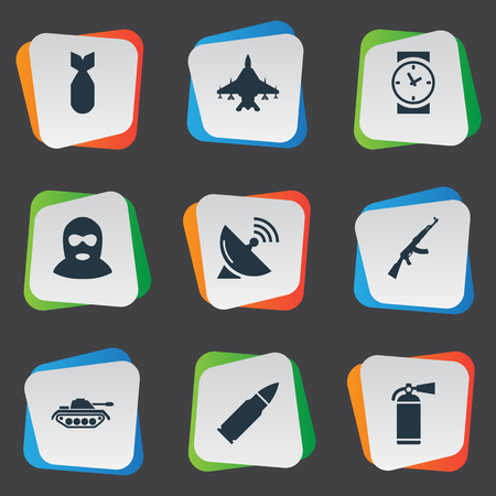 nuke: Set Of 9 Simple Terror Icons. Can Be Found Such Elements As Ammunition, Extinguisher, Nuke And Other. Illustration