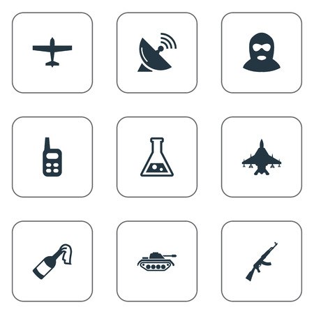 Set Of 9 Simple Battle Icons. Can Be Found Such Elements As Sky Force, Chemistry, Signal Receiver And Other. Illustration