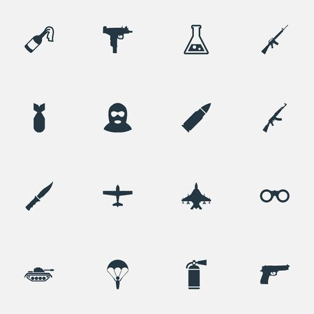 nuke: Set Of 16 Simple Battle Icons. Can Be Found Such Elements As Nuke, Rifle Gun, Pistol And Other. Illustration