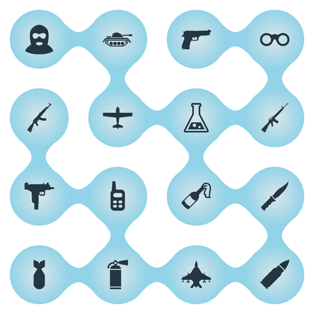 Set Of 16 Simple Military Icons. Can Be Found Such Elements As Walkies, Field Glasses, Rifle Gun And Other.