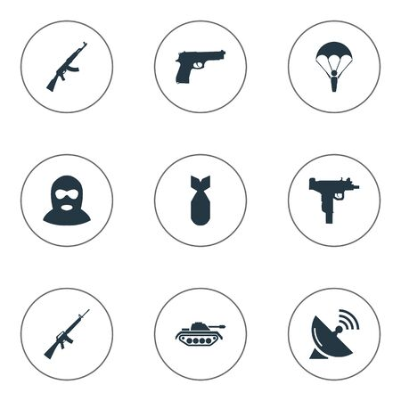 nuke: Set Of 9 Simple Army Icons. Can Be Found Such Elements As Rifle Gun, Signal Receiver, Nuke And Other.