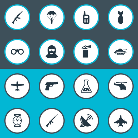 Set Of 16 Simple Army Icons. Can Be Found Such Elements As Chemistry, Air Bomber, Sky Force And Other.